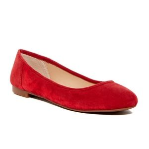 VINCE CAMUTO CAILEE Red Suede Ballet Flats Shoes